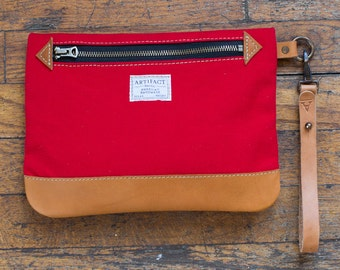 Personal Effects Bag in red canvas with Horween leather