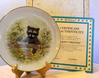 "Pickard Collectible Plate - Innocent Encounters - ""Making Friends"" - Baby Raccoon"