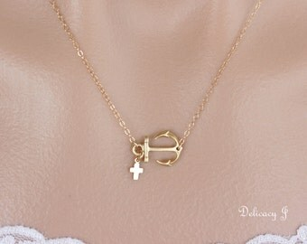 Gold Anchor Necklace with Cross Charm, Gold Cross Necklace Sideways Anchor Necklace, Birthday Anniversary Baptism Bridal Christmas gifts