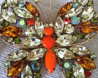 Large Bright Orange and Rhinestone Vintage REGENCY Butterfly Brooch