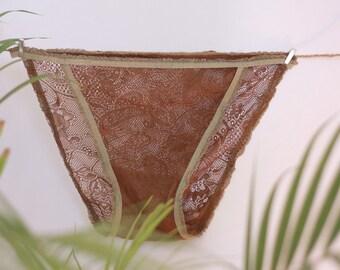 brown flower lace  panties, bridesmaid underwear one size