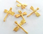 10 Pcs (14x12 mm)  Dragonfly Charms , Gold Plated Brass G1269