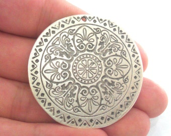 Silver Pendant Antique Silver Pendant Oxidized Silver Plated  Medallion  Pendants  (45 mm)   G1101