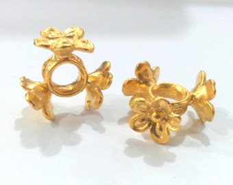2 Gold Rondelle Beads Flower Rondelle Beads , Gold Plated Brass 2 Pcs (13 mm)   G1539