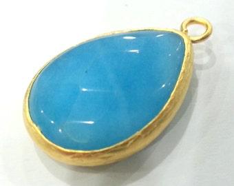26x19 mm Blue Pendants , Gold Plated Drop Bezel   G1970