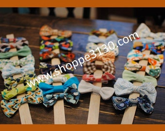 Baby or toddler and matching daddy sized bow ties with fabric covered clip w matching adult bow tie