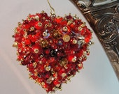 Heart Ornament Red and Gold Art Piece OOAK Vintage Jewelry Assemblage