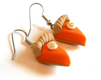 Pumpkin Pie Dangle Earrings - Thanksgiving Holiday Jewelry - Polymer Clay Food - Handmade - Gifts Under 15, 20, 25