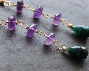 Celine Emerald Amethyst 14 kt Gold Fill Drop Earrings