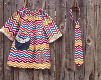 Girls fall dress/matching tie/matching bow tie/chevron/brother and sister outfit/