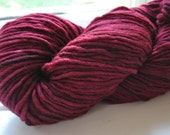 Single ply worsted merino yarn, hand dyed, red, 4 ounces, Ruby