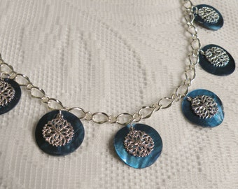 Dark Blue Mussel Shell Necklace and Earring Set