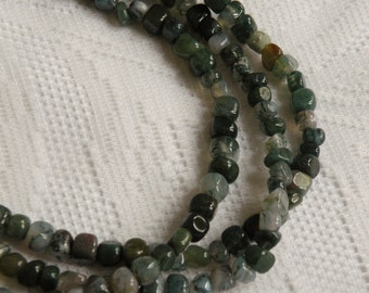Moss Agate Pebbles Multi-Strand Necklace