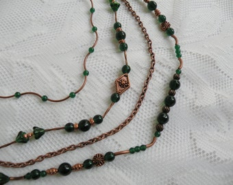 Irish Dream Glass and Copper Multi-Strand Necklace