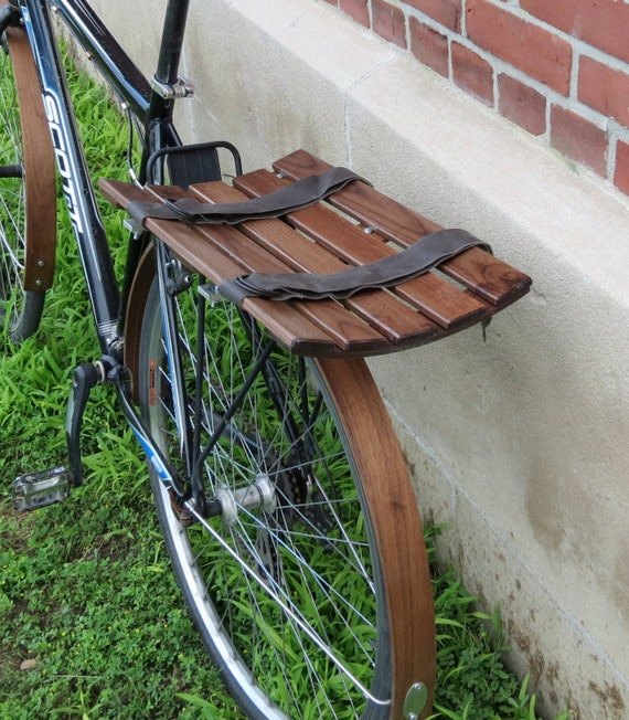Eliptical wooden bike basket