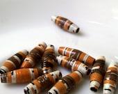 11 paper beads - terracotta, white -