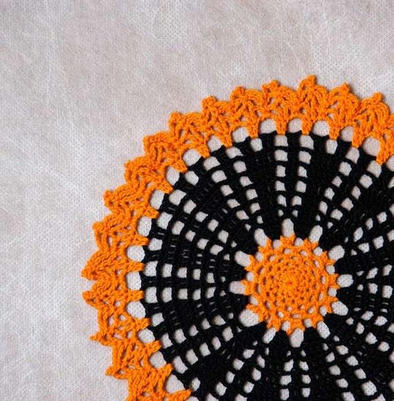 Halloween Crochet Lace Autumn Doily, Fall Home Decor, Black and Pumpkin Orange, Handmade, Original Design by NutmegCottage