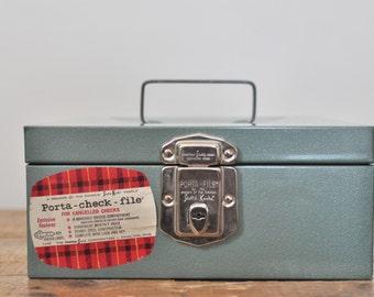 Vintage Green Metal Storage Box Porta Check File