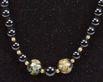 Vintage Sterling  Silver 925 Clasp and Beads Cloisonne and Black Onyx String of Beads TNTeam Stunning Art Nouveau Style