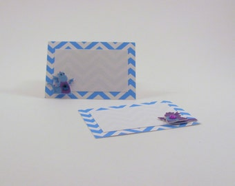 Blue Chevron Dragons Notecards or Place Cards with White Envelope Set of 12 Birthday Party Blank Cards