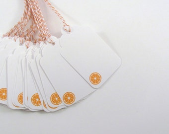 Orange Slice Stamped White Gift Tags with Orange and White Bakers Twine Mason Jar Tags
