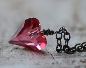SALE Crystal Heart Pendant Necklace Oxidized Sterling Silver Jewelry Hot Pink Swarovski Crystal Anniversary Gift Sweet 16 Birthday Necklace