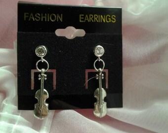 Rhinestone Violin Post Earrings
