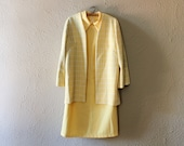 Vintage 1960s Yellow Sleeveless Collared Shift Dress with Jacket, Extra Large