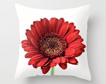 Photo Pillow Cover, Red Floral Cushion Case, Gerbera Daisy Bedroom Accent, Farmhouse Decor, French Cottage Chic, CrimsonBotanical Art Decor