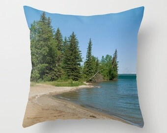 Beach Themed Throw Pillow Covers, Aqua Blue and Green Photo Cushion Case, Coastal Cottage Decor, Handmade in Canada, Resort Lounge Accent