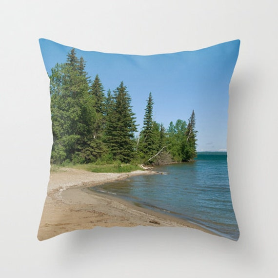 Beach Themed Throw Pillow Covers Aqua Blue and Green Photo