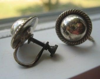 Earrings, Sterling Silver, Screw Back, 60s, Vintage Jewelry,