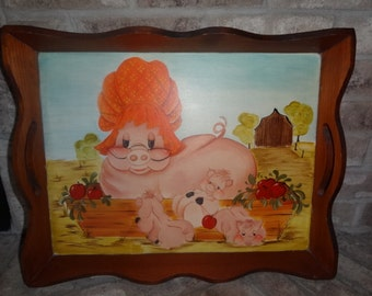 "Vintage 1970's wooden food serving tray Hand Painted  Art ""Mother Pig & Her Babies"""