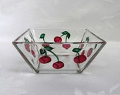 Bowl-hand painted bowl-painted red Cherries-Square bowl-dip bowl