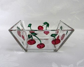 Bowl-hand painted bowl-painted red Cherries-Square bowl-dip bowl