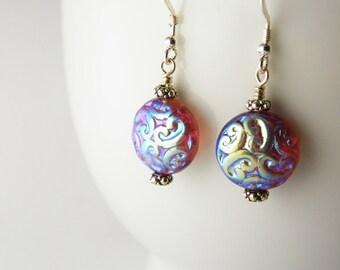 Paisley Blue Glass Earrings /   Dangle  Drop  / Boho   Bohemian /  Sterling Silver