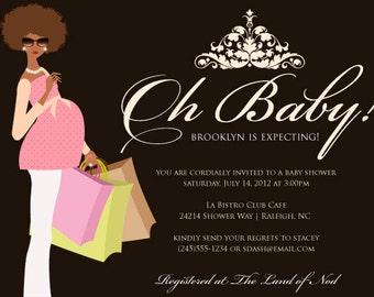 Chic Mama Baby Shower Invitation - African-American, Caucasian, Hispanic Mamas