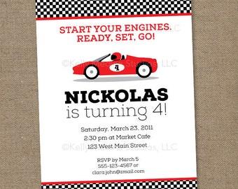 Custom Race Car Birthday - Ferrari Red - Printable Digital Birthday Invitation - Personal Use Only