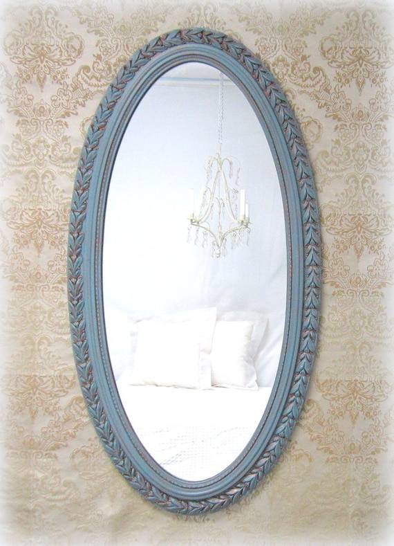 Neoclassic framed mirror 45x24 39 large teal blue for Teal framed mirror