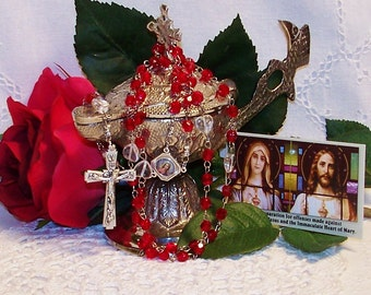 Immaculate Heart Red Czech Crystal Catholic Rosary - Full Hard Stainless Steel Loops