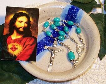 Genuine Turquoise Unbreakable Catholic One-Decade Sacred Heart Rosary