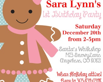 Girls Christmas Birthday Gingerbread Invitation Printed With Envelopes-15