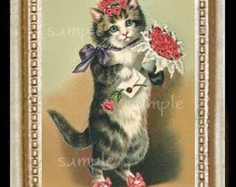 Vintage Cat Miniature Dollhouse Art Picture 1274
