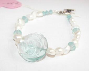Glass flower bracelet, Freshwater pearl bracelet, Spring flowers, Clarence Jewelry, Shabby Chic Girl
