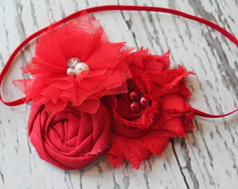 Really Red- Simple Solids Collection rosette and chiffon flower headband