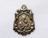 Vintage Sterling Miraculous Religious Relic Medal Our Lady of Perpetual Help - Two Sided Art Nouveau Pendant