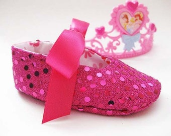 Pink baby shoes girls pink shoes toddler girls shoes bling for babies sequin fabric shoes sparkly baby shoes - Joy Fuchsia
