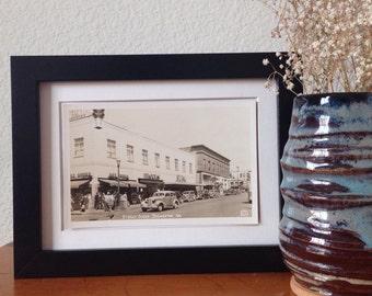 Street Scene, Bremerton, Washington - framed vintage postcard