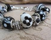 Classic Black and White Lampwork European Style Bracelet