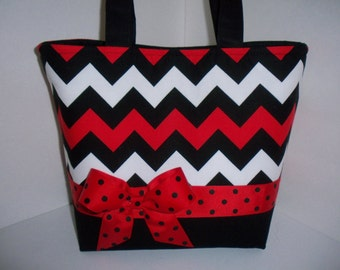 Red White Black Zig Zag / Chevron Fabric Handbag / Purse / Tote